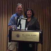 Immediate Past President David Cohen, welcomes incoming ACAM President 2014, Marina Corodemus at the ACAM 2014 Annual Meeting held in San Juan Puerto Rico.