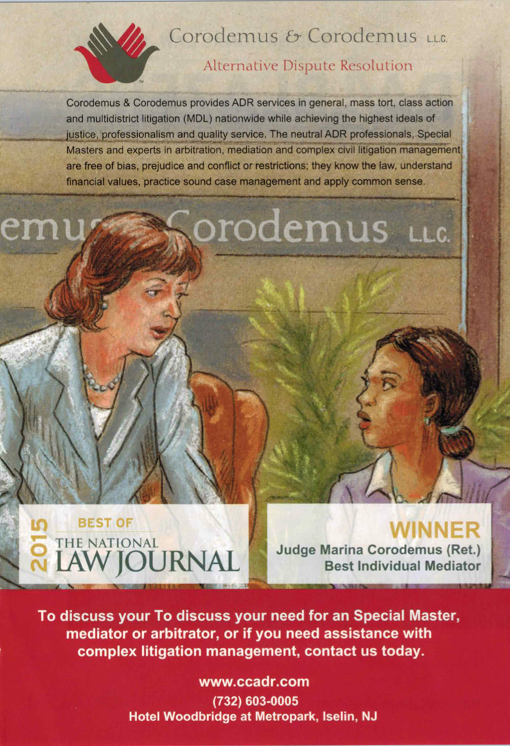 Judge Corodemus named National Law Journal 'Best Individual Mediator' 2015